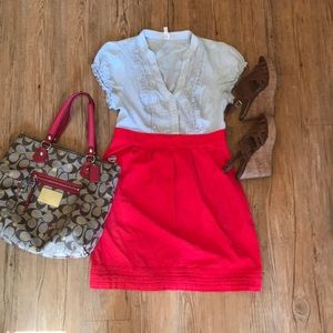 Anthropologie Maeve short sleeve button top dress
